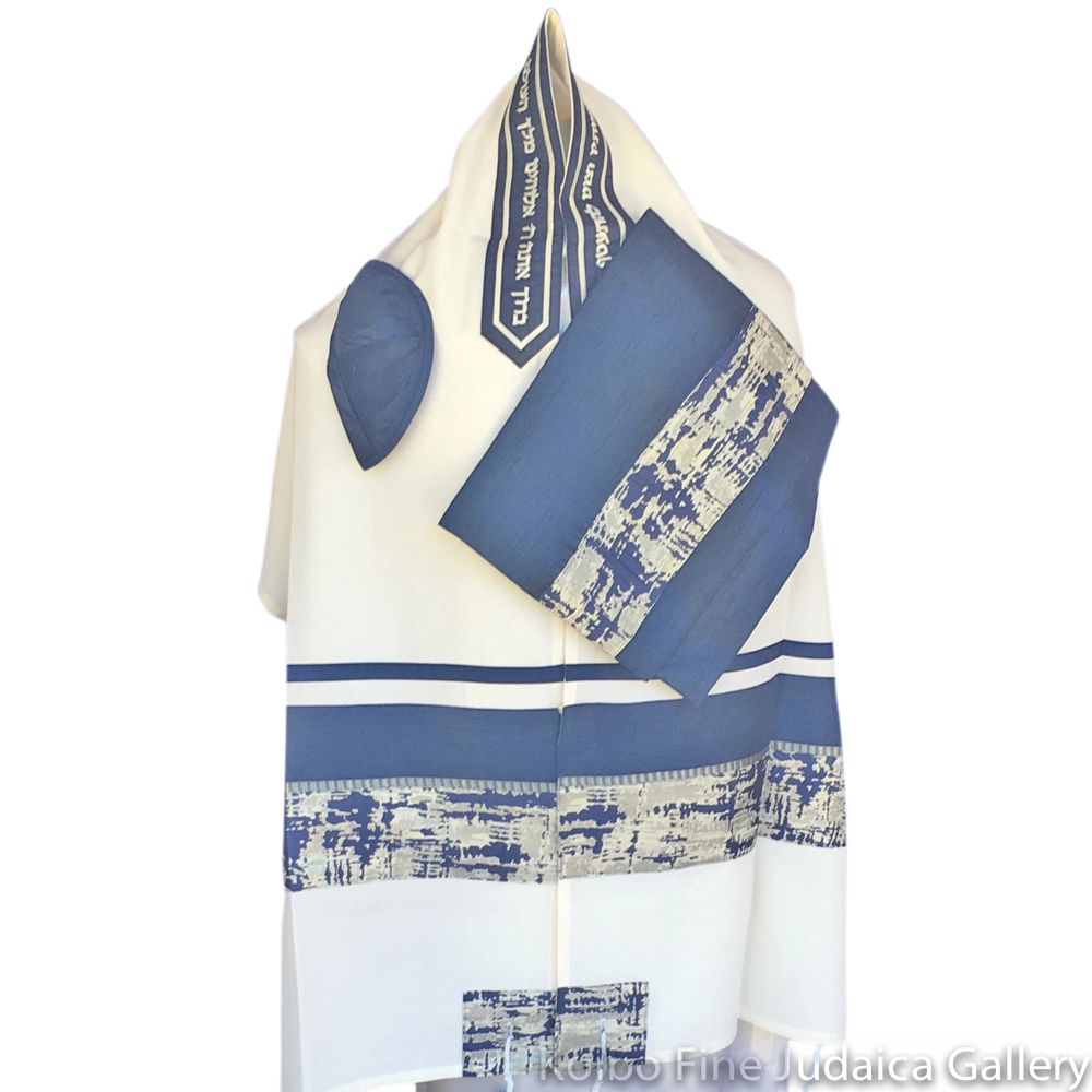 Tallit Set, Blue and Silver Western Wall Design, Wool