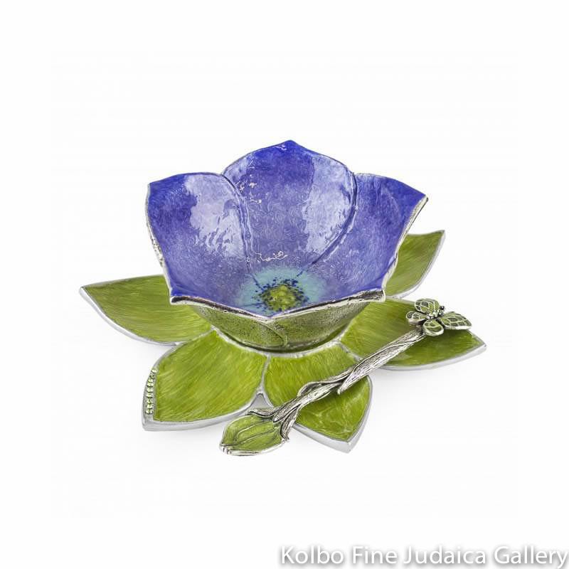 Honey Dish, Hand Painted Iris Blue Flower on Leaf Plate, Pewter with Enamel
