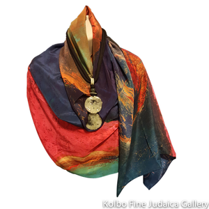 Scarf, Fiery Sunset, Design from Original Painting, Hand-Hemmed Crepe de Chinen Silk