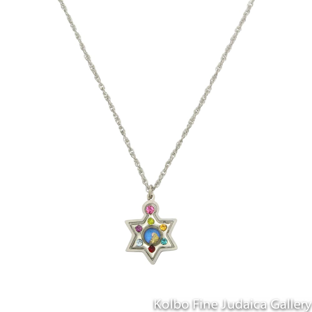 Necklace, Star of David, Resin on Stainless Steel with Multicolored Crystals