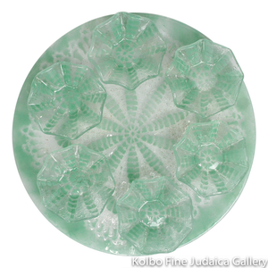 Seder Plate, Glass with Bowls, Light Green, Sand Dollar Pattern