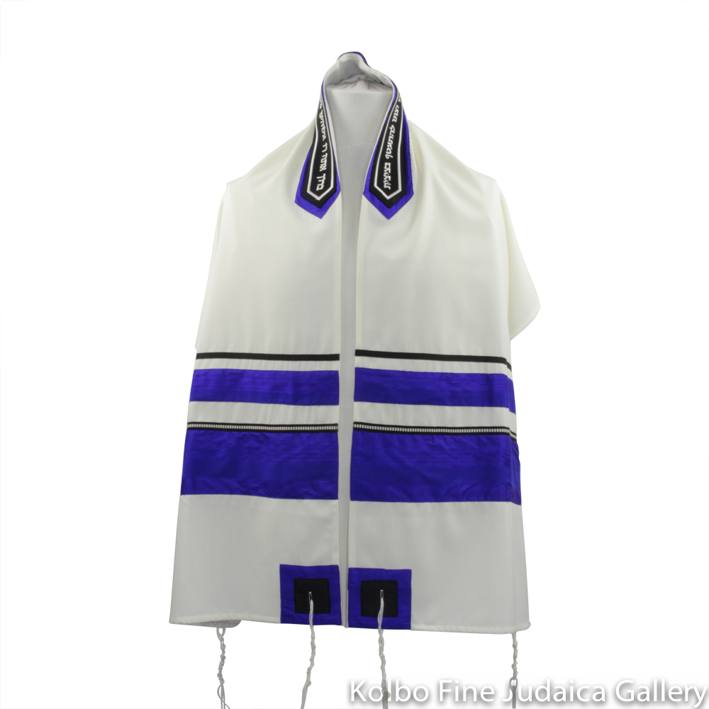 Tallit Set, Electric Blue Stripes on White Background, Fine Wool