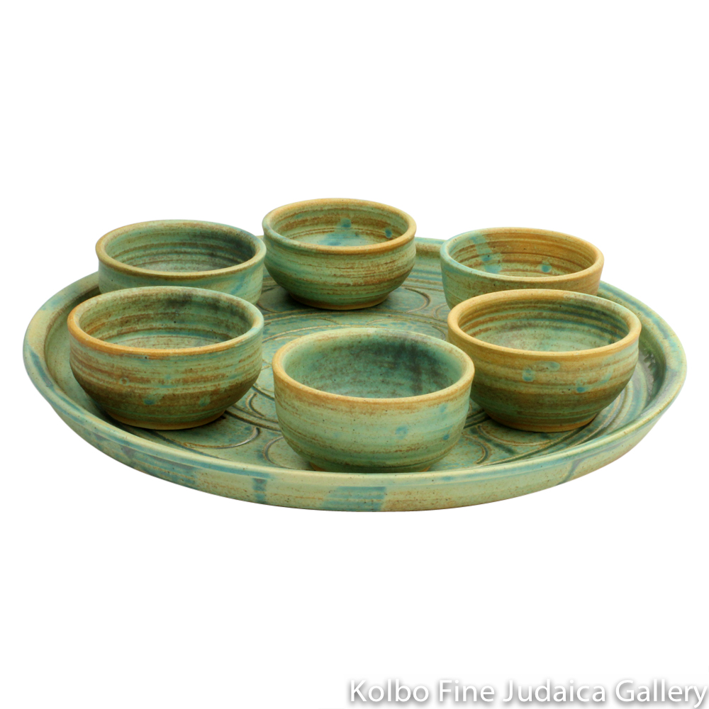 Seder Plate with Bowls, Ceramic with Patina Glaze