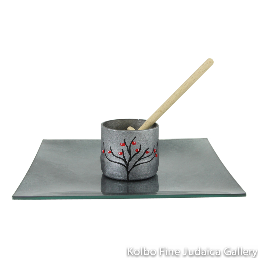 Honey and Apple Set, Hand-Painted Glass with Apple Tree on Cup in Multi-Gray Tones