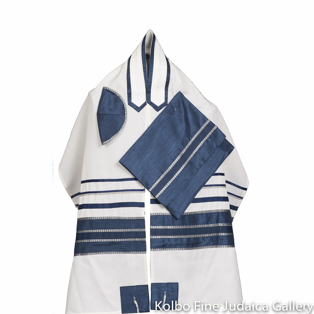 Tallit Set, Blue and Silver Ribbons on Fine White Wool