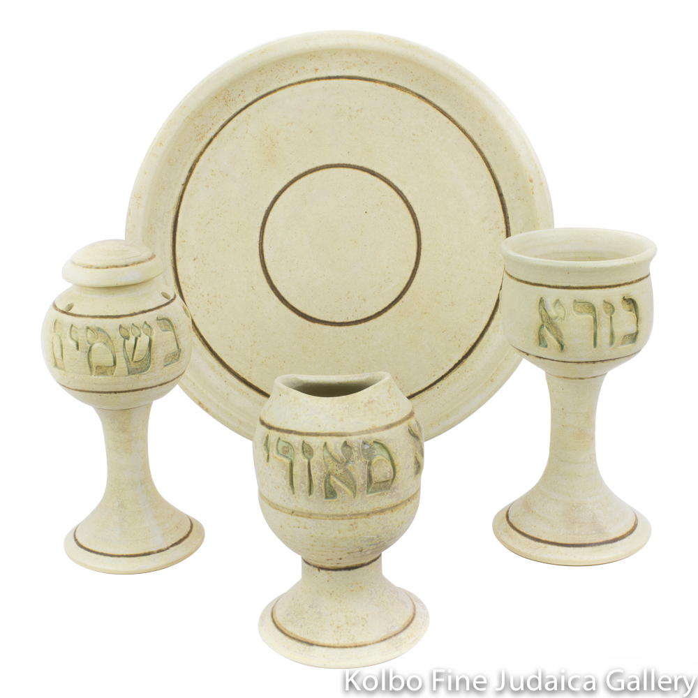 Havdalah Set, Classic Design in Ceramic with Matte Glaze
