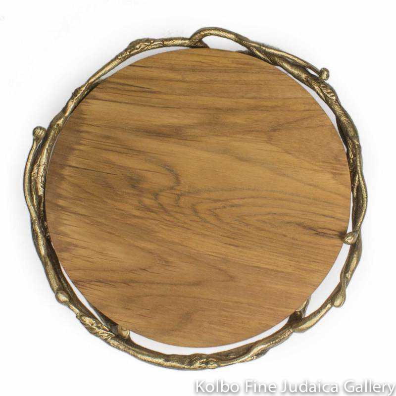Challah Plate, Wooden Board With Pewter Branches