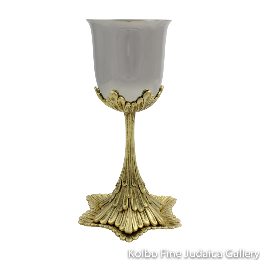 Kiddush Cup, Gold Waterfall Design with Tray in Pewter