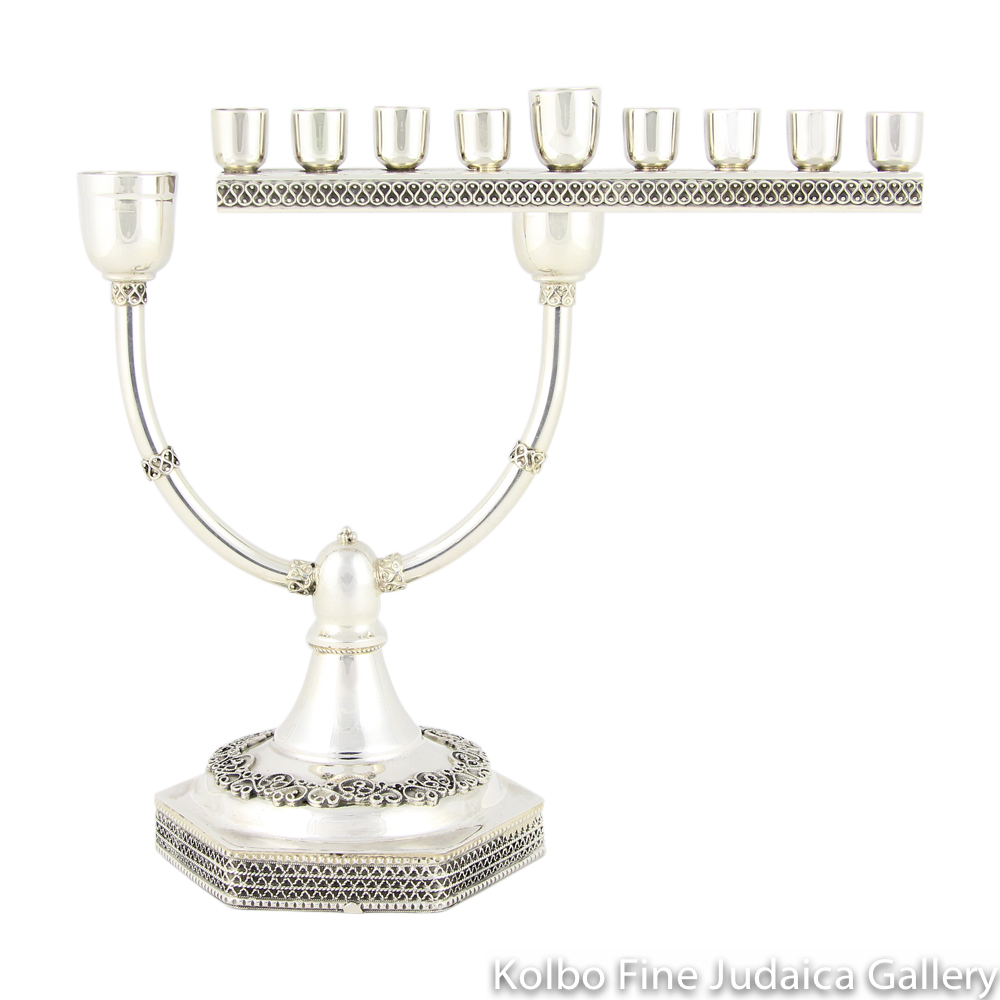 Menorah and Candlesticks, Removable Sliding Bar, Sterling Silver with Filigree
