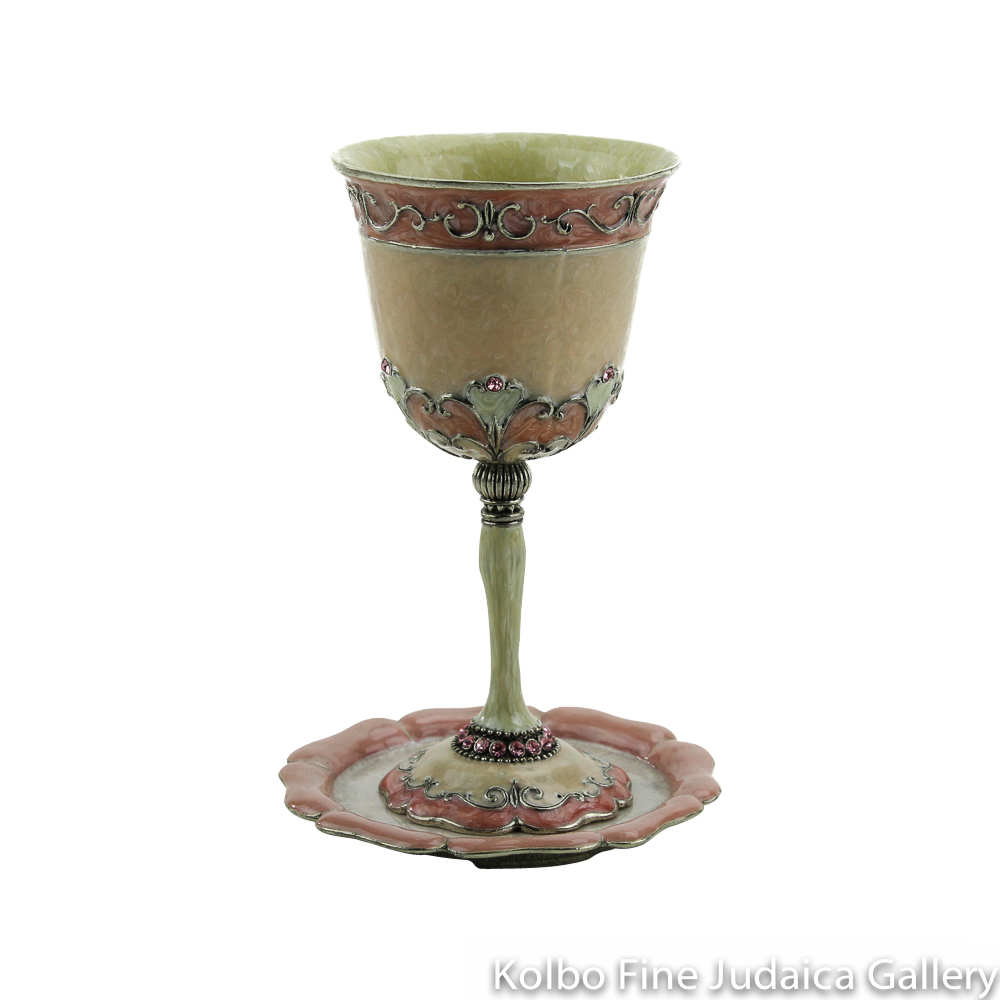 Kiddush Cup and Saucer, Pink Design, Pewter with Enamel and Swarovski Crystals
