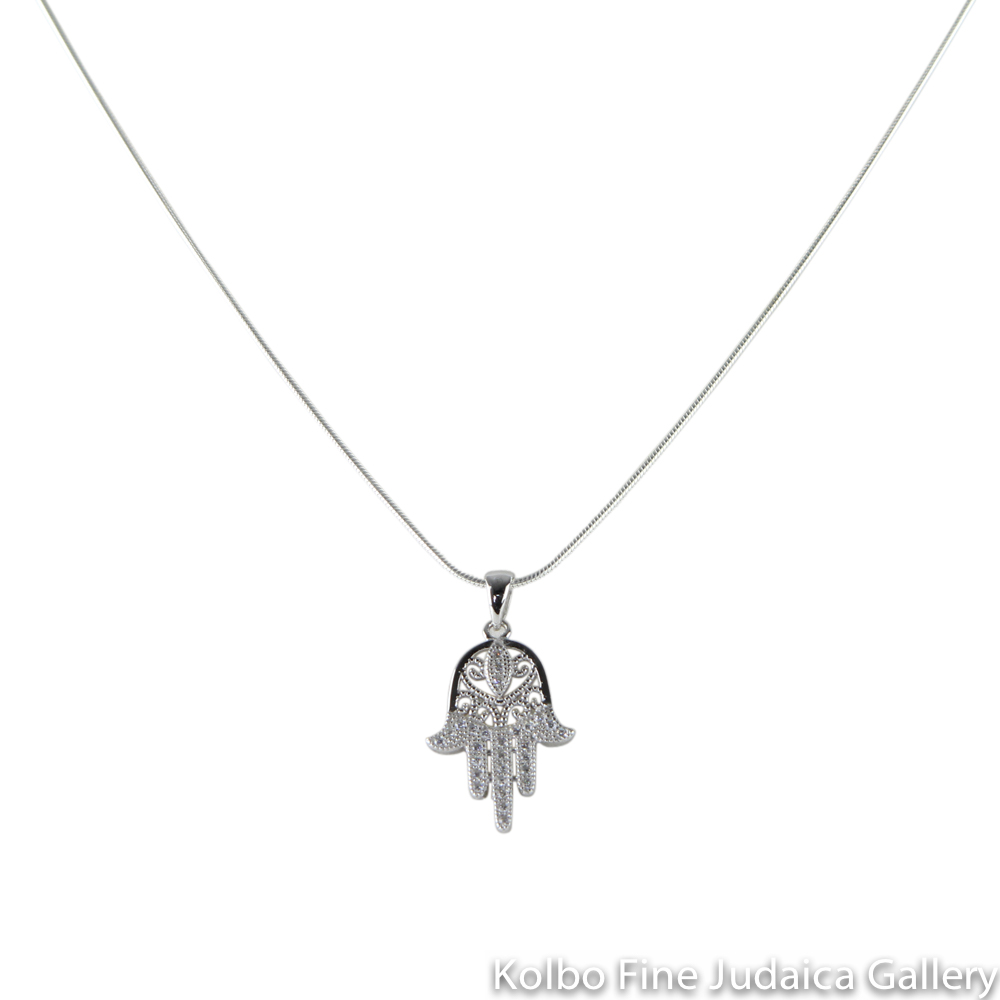 Necklace, Hamsa with Filigree and CZ, Six Swirl Design, Sterling Silver Pendant with Sterling Silver Chain
