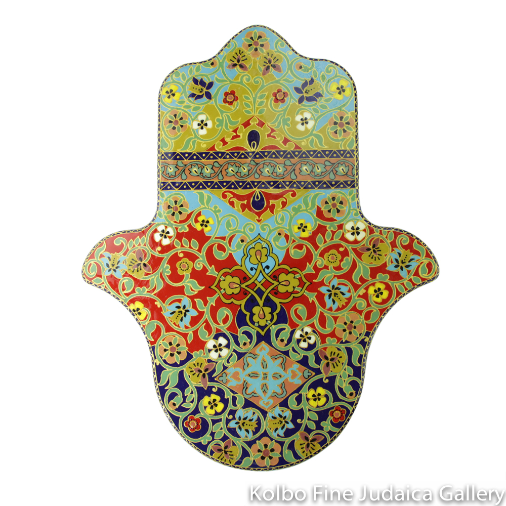 Hamsa, Hand-Painted Wood, 60 cm, Dark Blue, Red, and Light Blue with Vine Banner