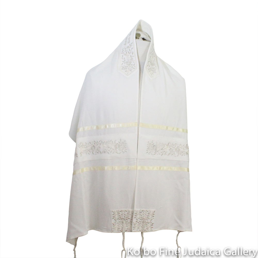 Tallit Set, Embroidered Vine Design in Silver on White Brushed Cotton
