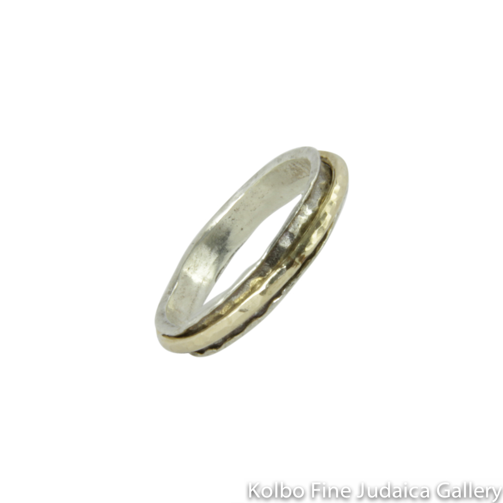 Ring, Hammered Sterling Silver with Smooth, Wide, Gold-Filled Spinner