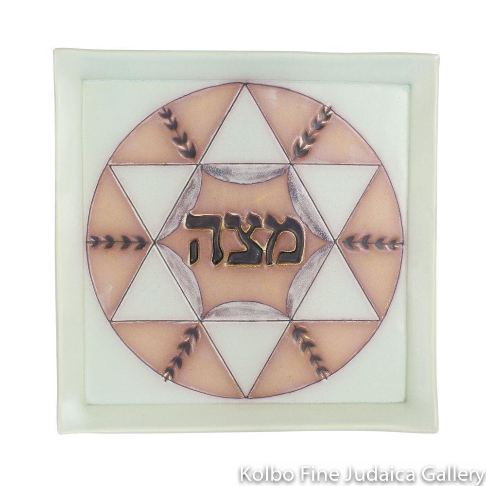 Matzah Plate, Aqua and Rose, Hand-Built and Hand-Painted Ceramic