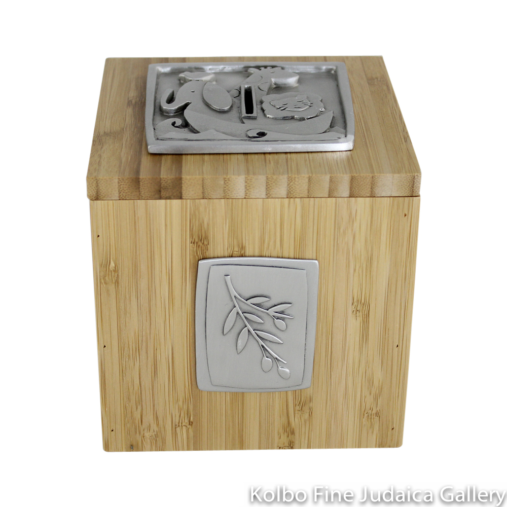 Tzedakah Box, Noah's Ark Design, Pewter and Bamboo