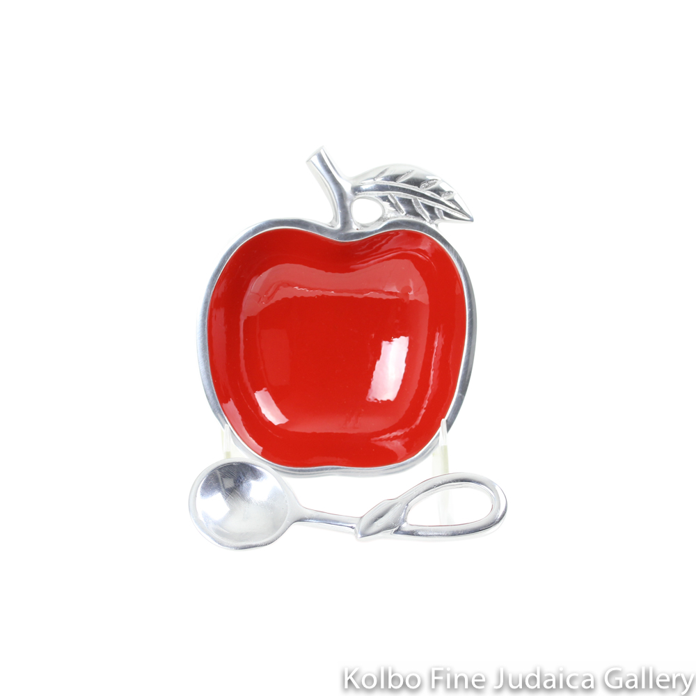 Honey Dish, Apple Shape with Spoon, Red Polished Aluminum, Small Size