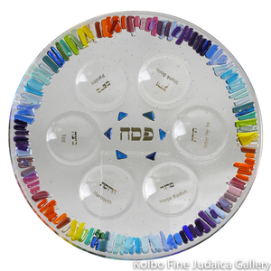 Seder Plate, Rainbow of Freedom Design, Multicolor Fused and Dichroic Glass