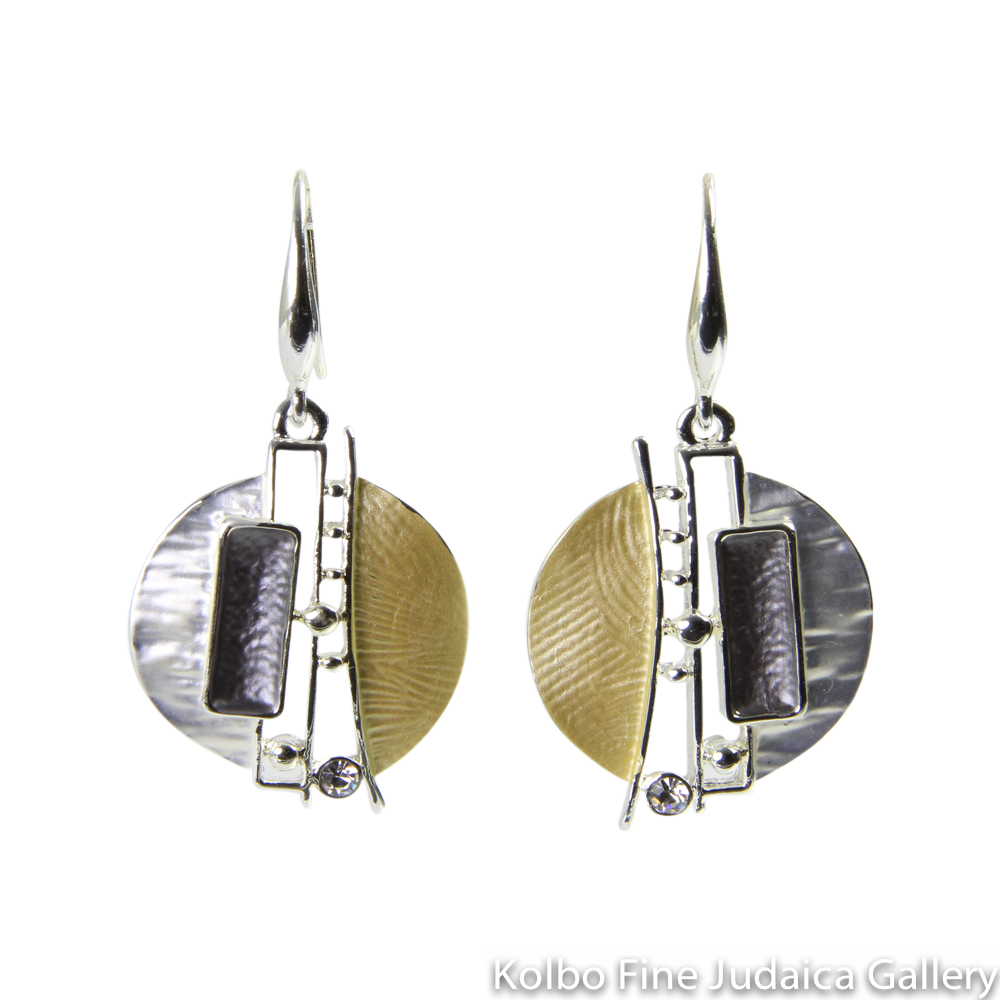 Earrings, Circular Drop with Swarovski Crystals, Sterling Silver and Gold Plated, on Wire