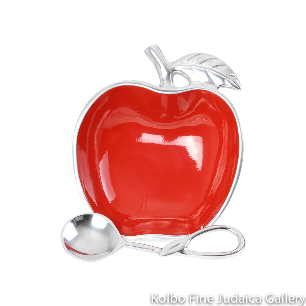 Honey Dish, Apple Shape with Spoon, Red Polished Aluminum, Medium Size