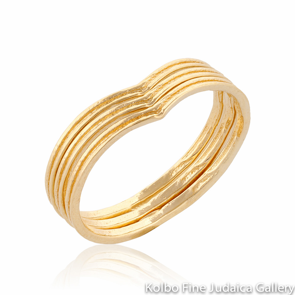 Ring Set, Thin, Gold-Filled Bands, Nesting Chevron Design