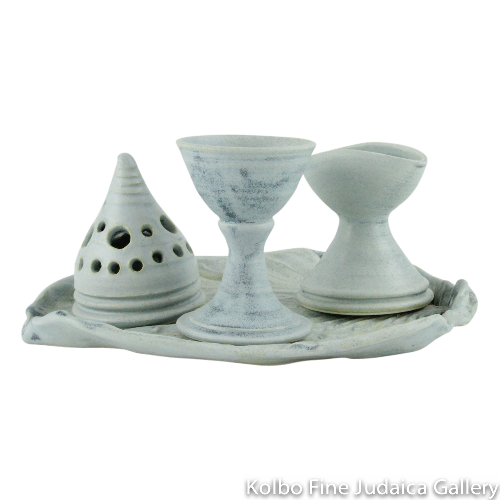 Havdalah Set, Ceramic with Blue Glaze, Handcrafted