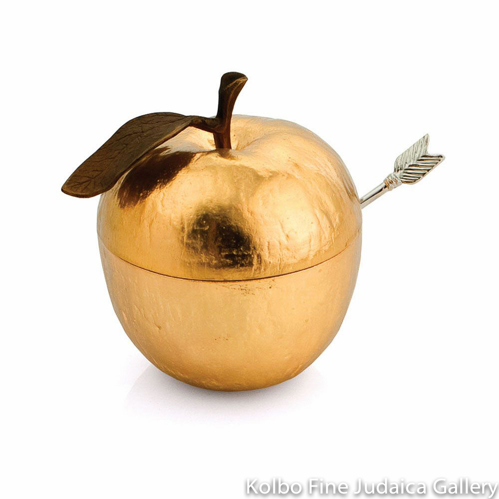 Honey Jar and Spoon, Golden Apple Design, Nickel Plate, Oxidized, Brown Enamel