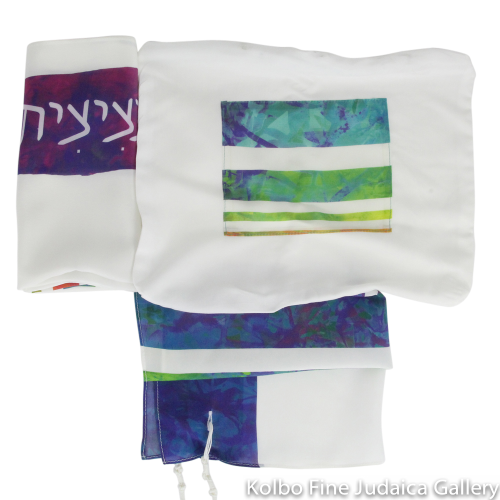 Tallit Set, Rainbow Watercolor Stripes, Silk