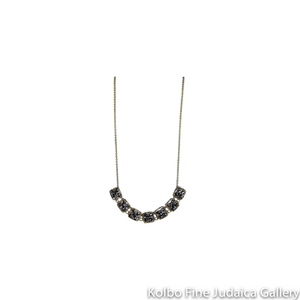 Necklace, Seven Beaded Squares of Pyrite and White Natural Zircon on Gold-Filled Chain
