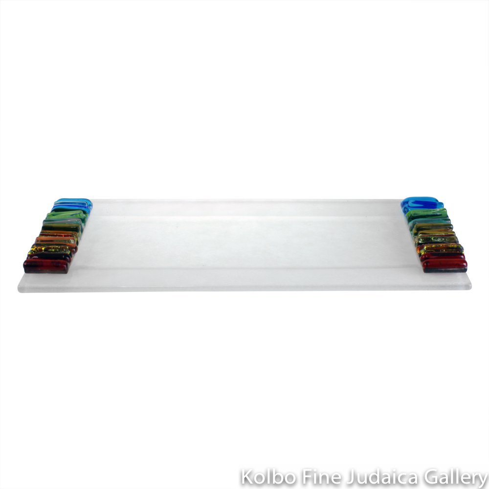 Tray for Candlesticks, Iridescent Icicle Design, Rainbow and Frosted Glass