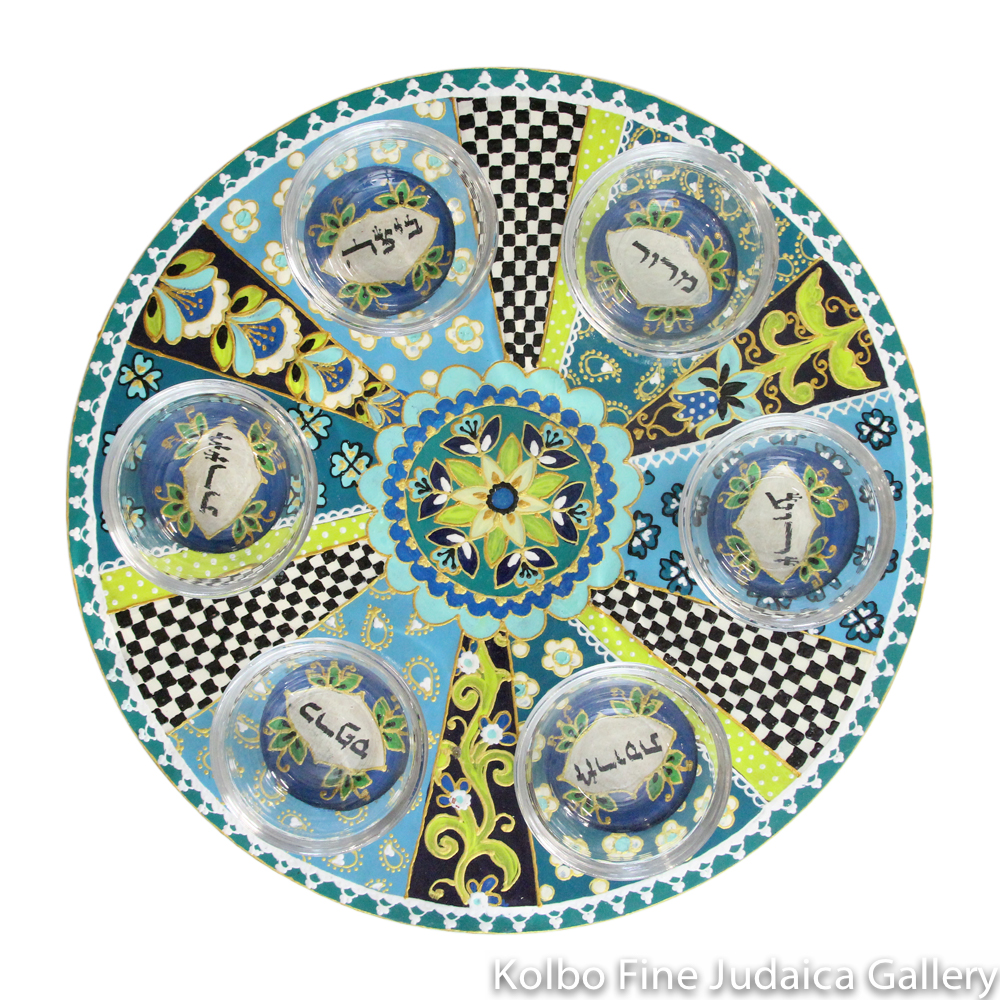 Seder Plate, Hand-Painted Wood with Glass Bowls, Aqua, Teal, and Lime with Floral Patterns and Checkerboards, Round