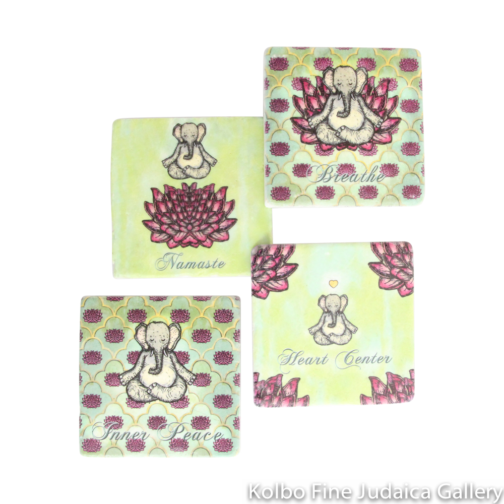 Coasters, Yoga Design, Printed on Botticino Marble with Cork Backing, Set of Four