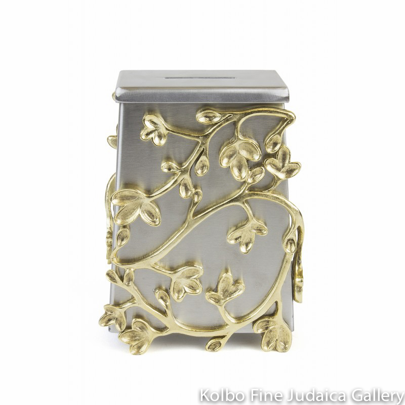 Tzedakah Box, Wildflower Design, Stainless Steel with Gold-Toned Pewter