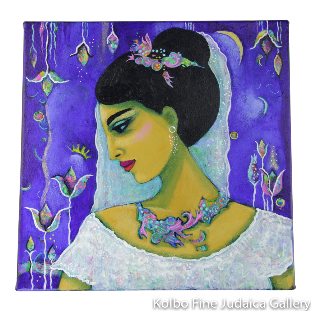The Sabbath Bride, The Sabbath Queen II, One-of-a-Kind Acrylic Painting 16'' x 16''