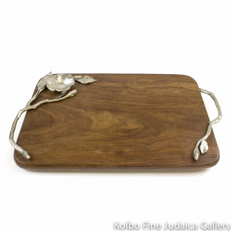 Challah Board, Aviva Design, Sheesham Wood with Silver-Plated Sculpted Branches
