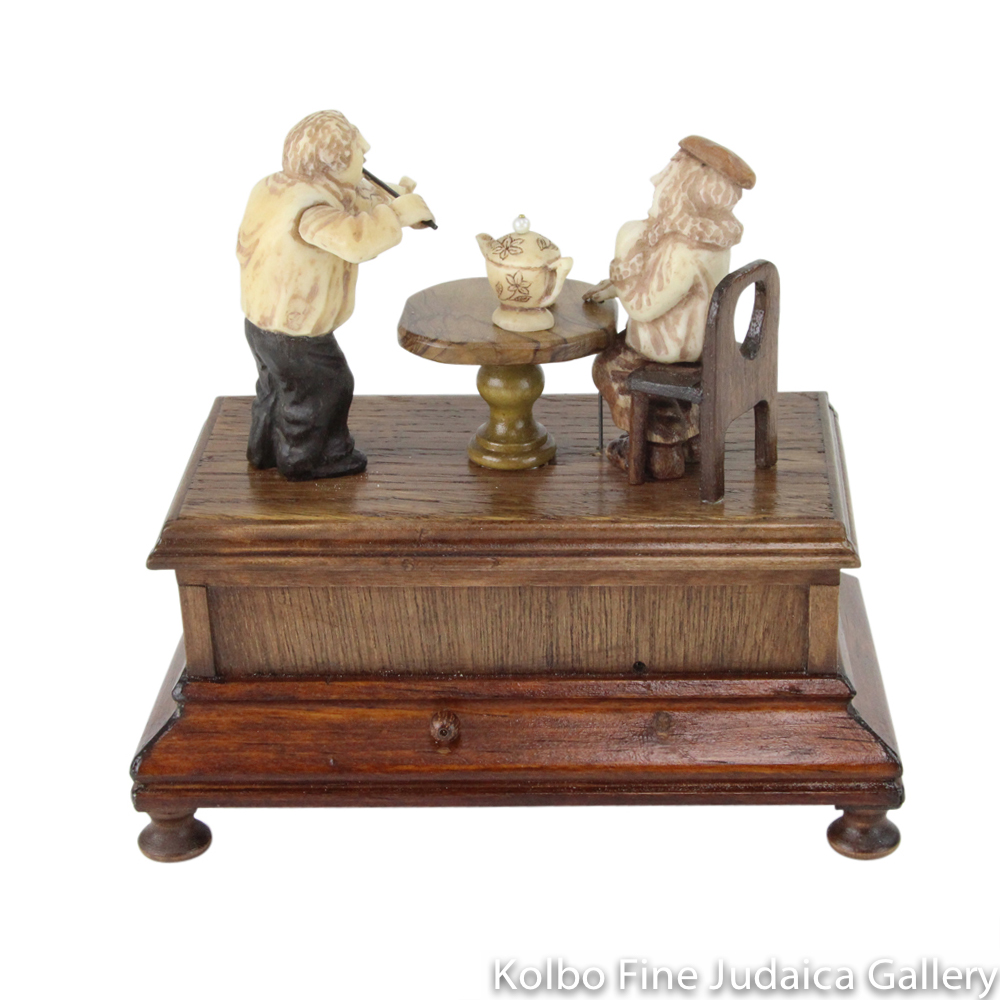 "Collectable, ""Music and Tea"" Music Box, Piano Player, Hand-Carved from Tagua Nut and Wood"