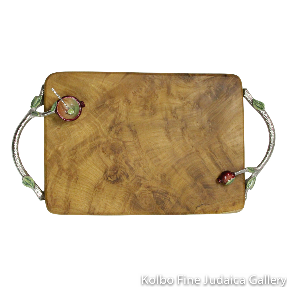 Challah Board, Branching Handles with Pomegranate Dish, Wood and Hand-Painted Enamel