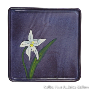 Matzah Plate, Purple Floral Design, Hand-Painted Ceramic
