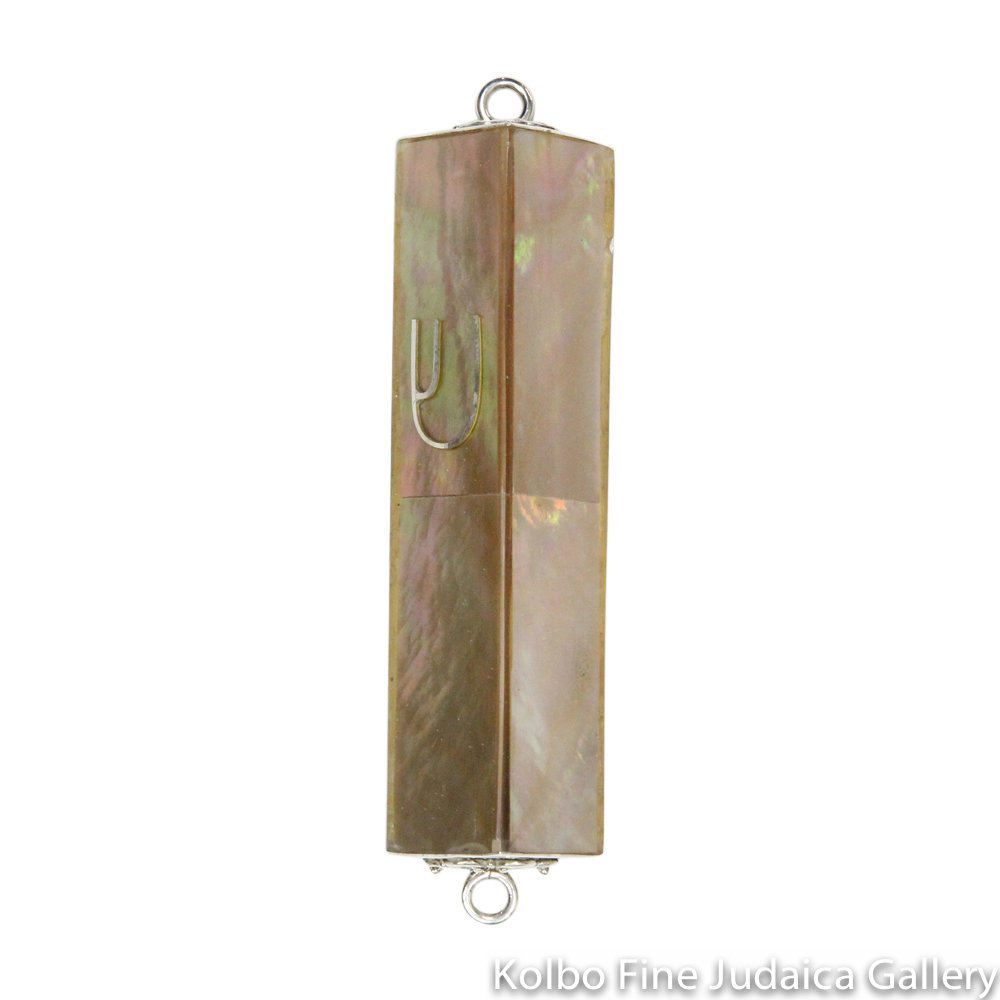 Mezuzah, Triangular with Bronze Mother Of Pearl and Sterling Silver