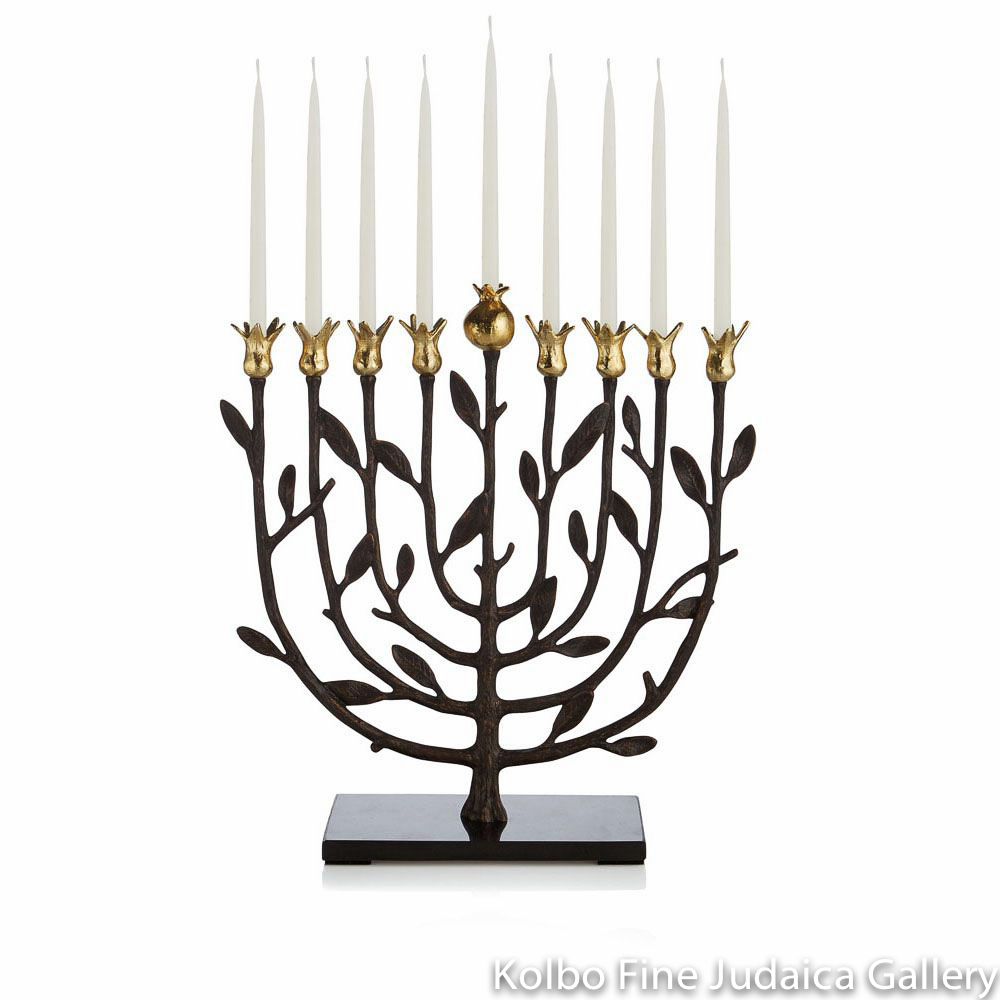 Menorah, Pomegranate Design, Goldtone, Oxidized Brass, Granite