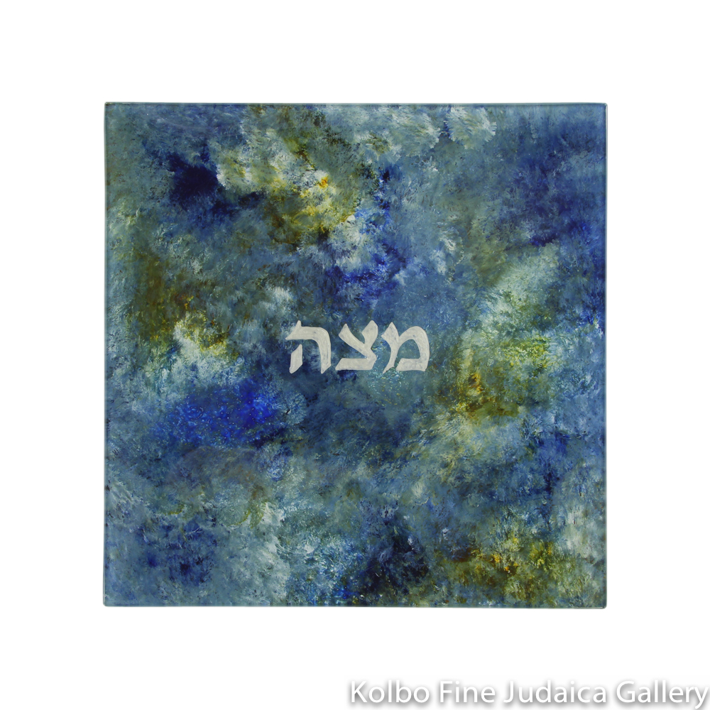 Matzah Plate, Hand-Painted Glass with Blue and Green Tones