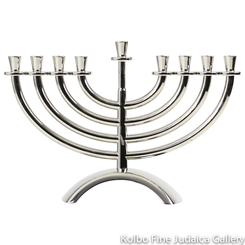 Menorah, Traditional Design with Arched Base, Nickel Plate over Brass