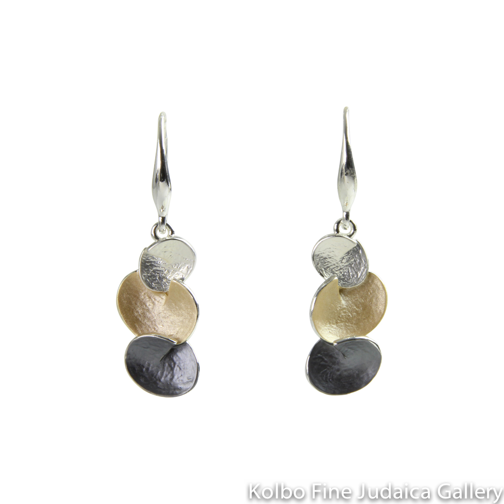 Earrings, Three Rounded Droplets, Two Layers of Sterling Silver and Gold Plating, on Wire