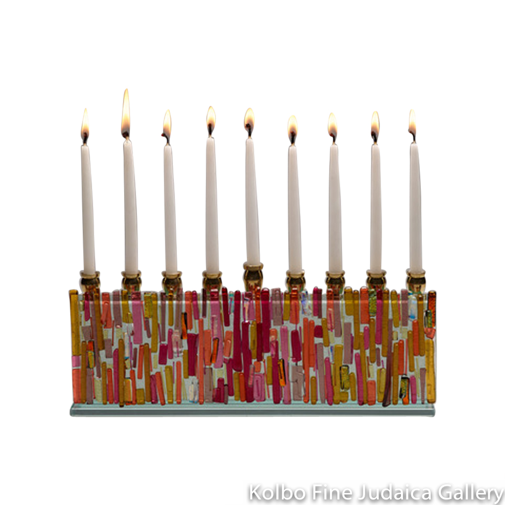 Menorah, Sunset Design, Glass with Blush, Gold, and Crimson Icicle Accents, Medium