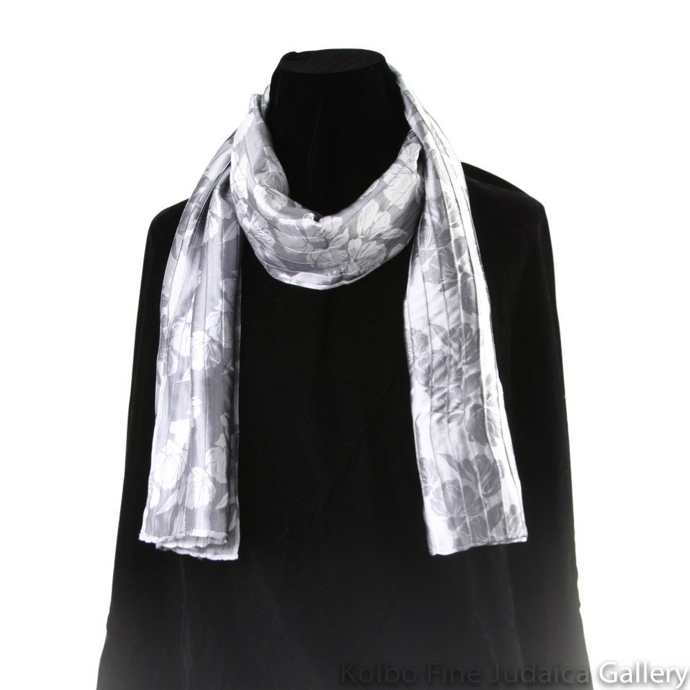 Scarf, Gray Pin-Tucking, Silk, Hand-Made