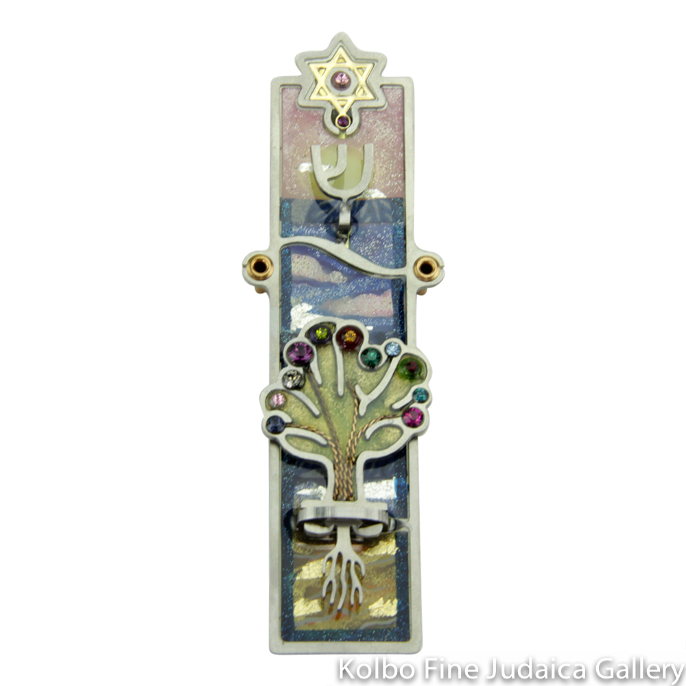 Mezuzah, Tree of Life Design, Resin on Stainless Steel with Crystals