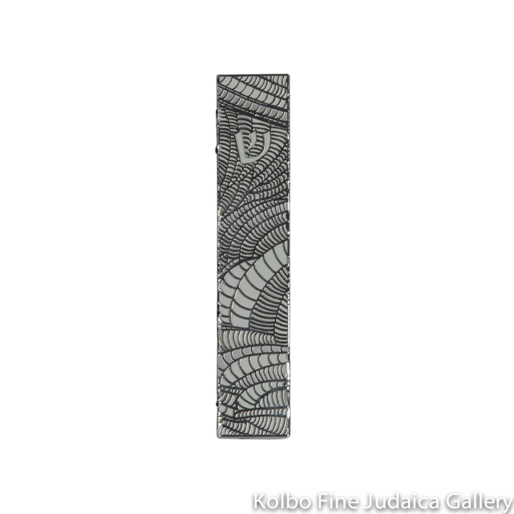 Mezuzah, Cut Out Wave Design, Stainless Steel on Silver Background
