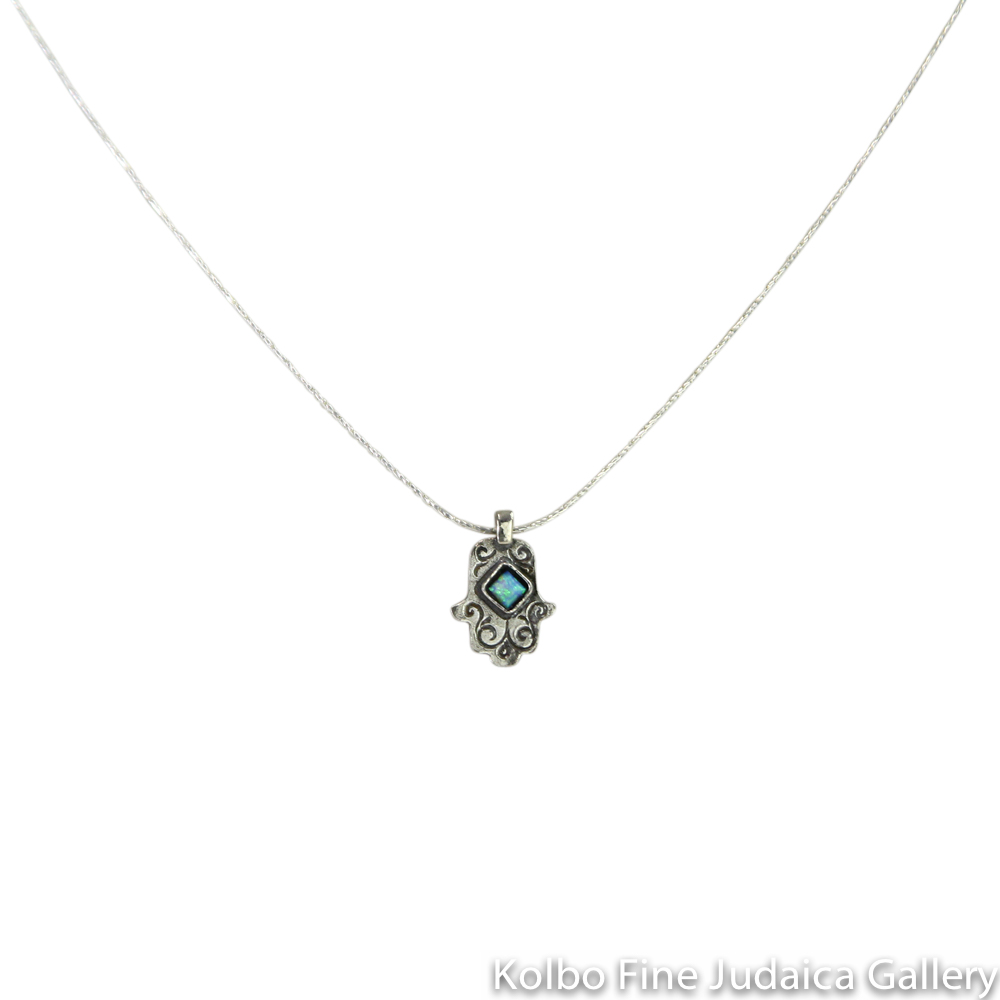 Necklace, Hamsa with Diamond-Shaped Opal, Sterling Silver, Small