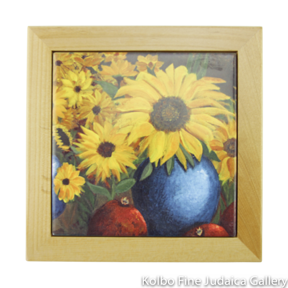 Trivet, Sunflower Design with Wooden Border