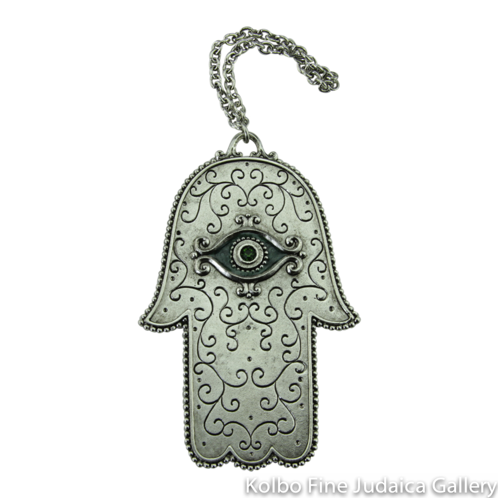 Hamsa for the Wall, Swirl Design with Eye, Pewter with Enamel